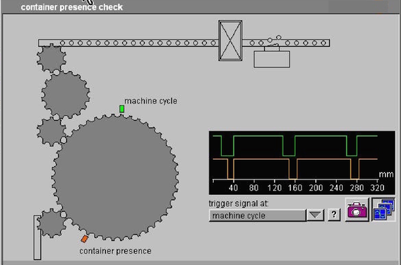 "Machine Cycle (green) and Container Presence sensor signals, as seen by an Electronic Inspector in a Labeller running at 60000 bottles-per hour.  Visibly, the Containrer Presence sensor signal is a short one.  A Container shall be considered ""Present"" when the signal's duration (low phase, zero volt equivalent to a logic "" 1"" in this NPN logic) shall result at least 2 ms long.  The scale of the image is expressed in millimetres, because of the presence of an Encoder.  Then, they are millimeters of Distance equivalent to seconds of Time"