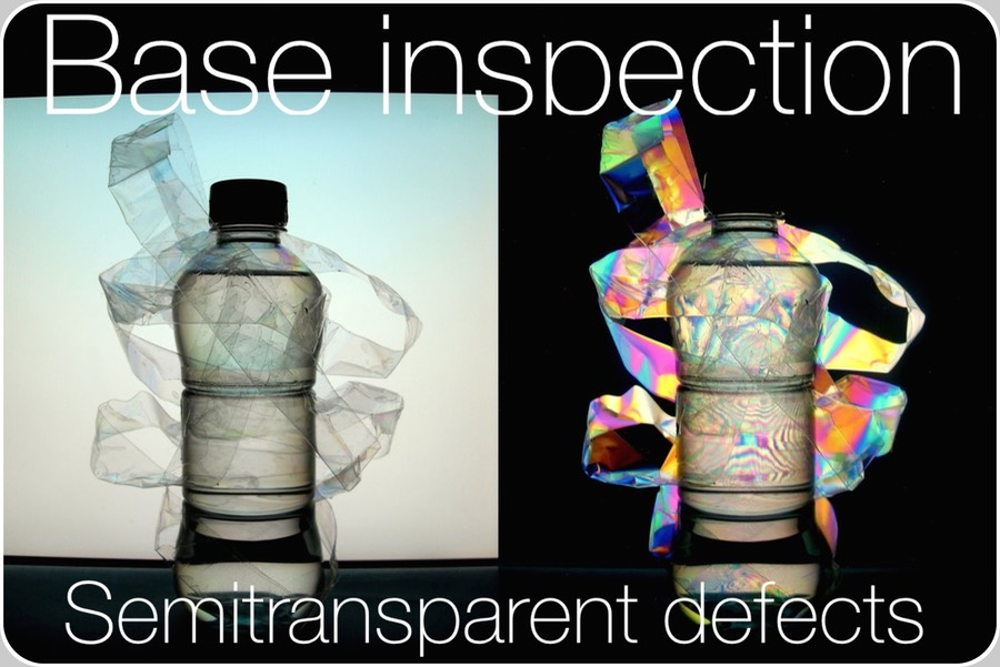 A common PET bottle as visible with (right side) and without (left side) polarising filtering.  At right side, cellophane in the stripes around the bottle rotates the light polarization vector (image credit C. López-Mariscal, US Naval Research Labs., 2014)  Semitransparent and transparent foreign bodies are much more difficult to detect than opaque. Plastic foils like those folding packs of cigarettes, are often encountered in the base of RGBs (Returnable Glass Bottles).  Plastic foils rotate in a fixed direction the spin angle of the polarized light.     Then, to detect plastic foils, light is forced to pass thru an additional delay filter, whose delay is related to the angle with whom all plastics rotate the plane of polarization.   Finally, a separate base camera detects these images.     To detect the truly difficult completely transparent cigarette plastic foils, it is not as efficient as the Inner Sidewall inspection.