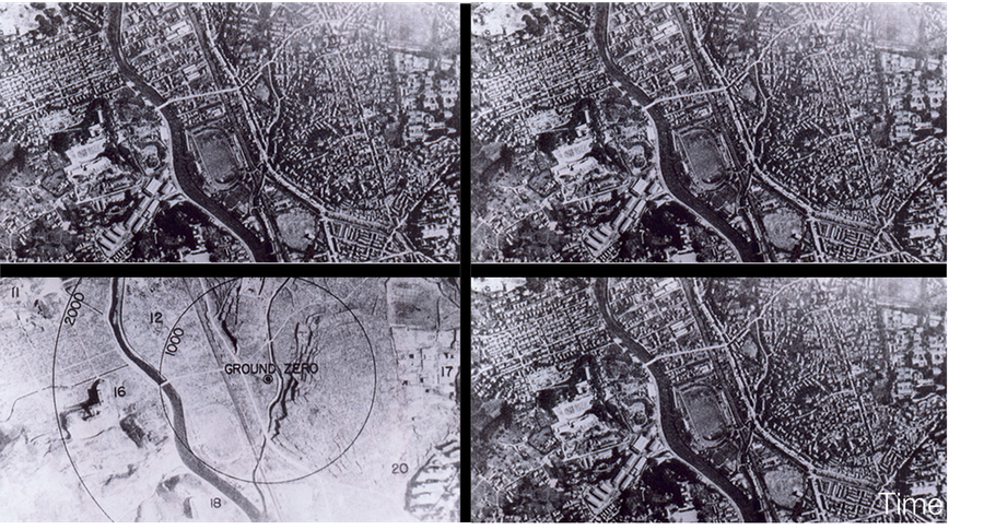 Branches. Frames like sections of two different branches.  Time evolves Up to Down.  At left side, the past state of our own branches.  At right side, the same past time in another branch.  The Reader has to remember that since 1908 Minkowski demonstrated that each one instant of Time corresponds to infinite spaces and not just one.  These aerial reconnassaince shots are then showing that idea of Relativity in the modern framework of Quantum Mechanics.