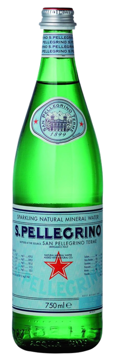 S. PELLEGRINO® mineral water in  aglass bottle with paper label (image courtesy NESTLE' WATERS®, 2014)