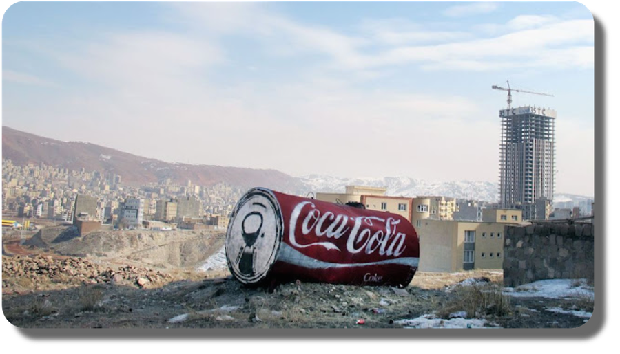 Coca-Cola Khoshgovar factory at Tabriz, Iran.  this artwork is a painting by an Iranian artist whose identity is unfortunately unknown. It represents the presence of the Coca-Cola thanks to the licensee Khoshgovar Beverage Co. with the town of Tabriz, as its landscape.  And our staff remembers Tabriz exactly that way, with  snow residuals, when in March 2009 installed and commissioned 2 Heuft® Systemtechnik-branded Full Bottle Inspectors in the new Sidel® PET Bottling Line.  One, at the out feed of the Filler machine, the other after the Labeller