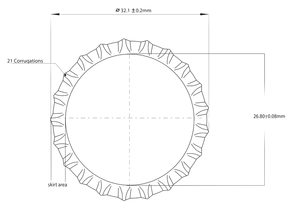 Crown cork Cap membrane. How a crown-cork resembles a drum-head.  The upper view recalls a circular membrane.  The lower cut of a pry-off crown evidences its sealing gasket.  Sealing gasket reducing the mechanical coupling between bottle and closure.  Also, participating to damp the vibrations of the thin (0.22 ± 0.01)mm steel membrane, following the model weighing just: (175 - 220)mg  (abridged by How a crown-cork resembles a drum-head.  The upper view recalls a circular membrane.  The lower cut of a pry-off crown evidences its sealing gasket, participating to damp the vibrations of the thin (0.22 ± 0.01)mm steel membrane, weighing following the models (175 - 220)mg ( Vitogiannis Bros. SA/2014) Vitogiannis Bros. SA/2014)