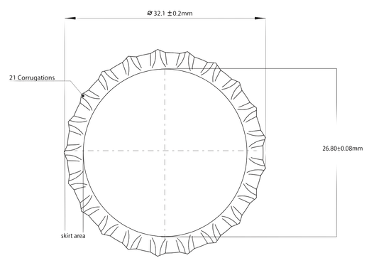Example  Crown cork Cap membrane. How a crown-cork resembles a drum-head.  The upper view recalls a circular membrane.  The lower cut of a pry-off crown evidences its sealing gasket.  Sealing gasket reducing the mechanical coupling between bottle and closure.  Also, participating to damp the vibrations of the thin (0.22 ± 0.01)mm steel membrane, following the model weighing just: (175 - 220)mg  (abridged by How a crown-cork resembles a drum-head.  The upper view recalls a circular membrane.  The lower cut of a pry-off crown evidences its sealing gasket, participating to damp the vibrations of the thin (0.22 ± 0.01)mm steel membrane, weighing following the models (175 - 220)mg ( Vitogiannis Bros. SA/2014) Vitogiannis Bros. SA/2014) As an example refer to the crown-cork cap depicted before, whose sealing gasket diameter is 22.211 mm.     Crown Cork Pry-off. How a crown-cork resembles a drum-head.  The upper view recalls a circular membrane.  The lower cut of a pry-off crown evidences its sealing gasket.  Sealing gasket reducing the mechanical coupling between bottle and closure.  Also, participating to damp the vibrations of the thin (0.22 ± 0.01)mm steel membrane, following the model weighing just: (175 - 220)mg  (abridged by How a crown-cork resembles a drum-head.  The upper view recalls a circular membrane.  The lower cut of a pry-off crown evidences its sealing gasket, participating to damp the vibrations of the thin (0.22 ± 0.01)mm steel membrane, weighing following the models (175 - 220)mg ( Vitogiannis Bros. SA/2014) Vitogiannis Bros. SA/2014) In a real application, suppose the production being 30000 bottles-per-hour and the containers' linear speed 900 mm/s:     To exercise the ultrasounds' impulse and the acoustic transduction inside a radius <25 % off the centre of the cap, means a timing whose tolerance is just ±2.96 ms, the translation of the diameter defined by the sealing gasket under the ultrasounds Generator and the acoustic transducer happens in <23.7 ms.    What if the Production is 60000 bottles-per-hour and their linear speed 1800 mm/s ?       Now, to exercise the ultrasounds' impulse and the acoustic transduction inside a radius <25 % off the centre of the cap, the timing tolerance shall be furtherly reduced to ±1.54 ms,   the translation of the diameter defined by the sealing gasket under the ultrasounds Generator and the acoustic transducer happens in <12.3 ms.    The relative errors expected when applying the Inner Pressure Inspection by Ultrasounds to closures inspected at different linear speed, are different (abridged by  Vitogiannis Bros. SA/2014)                                      Visibly, increasing the containers' speed, thus reducing to one-half the interaction Time, results in a proportional:  increase of the precision necessary (reduction of the tolerance) to centre the inspection time-window where the acoustis transducer receives the vibrational response of the container's.   An increase on precision requesting additional tracking (or, triggering) precision, absence of container sliding causes which may affect the movement, constant lubrification of the Conveyor belt, etc.  reduction on the amount of random variables recorded in the sample space where the closure displacement are sampled to later be analysed in the amplitudes, frequencies, dampings and energy domains; both increasing the relative error of the measurement on which the Inner Pressure Inspection is based, a close relative of the Production losses in the infamous form of False Rejects.