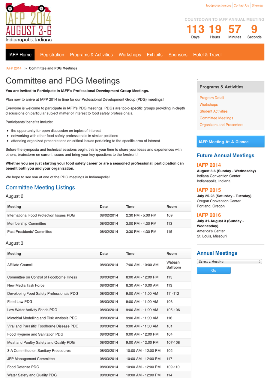 IAFP | Committee Meetings, Programs & Activities, IAFP 2014
