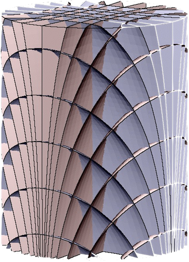 "Reeb foliation. The visible ""leaves"", also named ""sheets"", are hypersurfaces whose dimension is 3.   Each Observer, Detector or industrial Machinery occupies a multitude of 3-dimensional leaves of the foliation.  Then, each Detector collects changes in the status of a multitude of detectors densely existing all around.  Each of them sensitive only along an instant of Time (image credit Tambara Institute of Mathematical Sciences, University of Tokio, 2014)"
