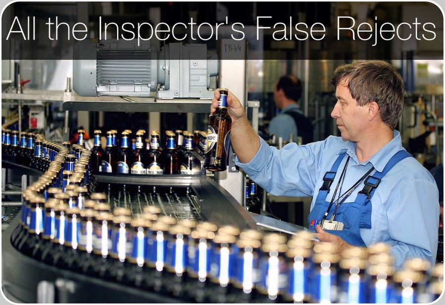 "Label Inspection False rejects. We'll deepen in the following section the main reason for so many Production losses frequently observed as a result of the Label Presence Inspection.   What follows cannot be generalised to all Vendors.    But, it touches however directly ~70 % of all the Label Presence Inspectors presently operating in the entire World.    The Label Presence inspection most important component is its digital photoscanner, also named diffuse reflective sensor, photo-detector, photoelectric sensor, etc.   Too frequently, also the component where are concentrated the efforts of some Designers to contain the grand total cost of all the Electronic Inspector's parts.    Not many Designers but, being one of these Vendors market share as high as 40 %, the net result that the sum of all these Label Inspectors accounts in the end for ~70 %.    As an example, refer to many Label Presence Inspectors sold to Food and Beverage Packaging Companies whose price lies in the range (30000 ÷ 120000) $, or (25000 ÷ 100000) €.    You'll discover what only Experts know, that the most important component of a Label Inspector is reduced to a ""general-purpose photoscanner born by a design of ~40 years ago"".       If you want to remain astonished and go closer to the reality of the facts, try to Google the words:                        18mm-Diffuse-Type-Adjustable-Photoelectric-Sensor-Switch  and, in the lot of the results you'll encounter that these transducers, the core of the Label Inspection, are components which, if bought in amounts of >100 units, are paid just 4.8 $, or ~4 €.      Label Presence Inspection Incoherent technologies. Cheap, obsolete general-purpose photoscanner versus modern, expensive photoscanner designed for transparent labels.  Shown their pricing with respect to a Label Presence Inspector priced 30000 $ (25000 €).  The False Rejects you suffered until today, have a well-defined definite Root Cause. The cheap obsolete photoscanner commonly fabric-installed, literally disappears in the comparison. Weighing just 0.12 ‰ of the Label Inspector price.  Disappears in the comparison but not in the negative accountancy of a Beverage Bottling Line Production's Losses To have a first contact with the key point, imagine to have just one bottle:     labelled with a Neck Label of the today commonly adopted semi-transparent kind;    let it revolve on a rotary carousel on a plate and its retro-reflected diffuse light be detected by two photoscanners differing in their basic characteristics and prices;   One of them a cheap (4.8 $/each) general-purpose the other an expensive modern model specifically designed for semi-transparent, transparent or dark labels; write down each outcome in the sample space Ω of the A/D converted measurements derived by the Label Presence Inspection.  Outcomes of measurements displayed by the Label Presence Inspections of different Vendors and technologies, as: adimensional numbers, or distances in millimetres, or pulses, etc.; translate the obtained gaussian profiles, til superimposing their respective averages;  observe the spiked distribution of the modern photoscanner (260 $), explicitly hinting to high repeatability and low false rejects to be expected in Production; on the opposite, the cheap general-purpose photoscanner, costs 68 times less than the other, but reduces the entire Beverage Bottling Line Production losses and non-labelled bottles to the Market, along the following 15 years;  evaluate the cost of an individual False Positive (false reject); evaluate the relative contribution to the Total Cost of Operation (TCO) of the less performant technology Neck Label Presence Inspection, using the other as a reference, integrating it along the expected 15 years of lifetime of that Electronic Inspector;   you'll discover that the general-purpose photoscanner, applied in a Labeller to the detection of the modern semi-transparent, transparent or dark labels, shall cost you losses much superior to the price of a second Electronic Inspector !     Much, much more than the price you'd have paid (260 $) to eliminate this problem banally upgrading the photo-Detector technology to the Third Millennium's Designs. A few calcultions tell us that these Design choices are presently devoting to the most important Label Presence Inspection component, just a nearly infinitesimal fraction.  Considering Label Electronic Inspectors valued 30000 $ and 120000 $, just:                                 (0.16  ÷  0.04) ‰     thus, affecting negatively the Receiver Operating Characteristic (ROC) exactly in the most critical, prone-to-falsely-reject Label Presence Inspections.   Above, graphed the comparative relative porcentages of a relatively cheap Electronic Inspector (30000 $), and of two kinds of photoscanners it may use as transducers for its Label Presence Inspections.    The modern relatively expensive model, designed for the actual and difficult transparent and semi-transparent labels, costs <260 $.    It is the ""expensive"" solution.   The cheap obsolete photoscanner commonly fabric-installed, literally disappears in the comparison.   Weighing just <0.16 ‰ in the total Label Inspector price.   Disappears in the comparison but not in the negative accountancy of a Beverage Bottling Line Production's Losses.  A few calcultions tell us that these Design choices are presently devoting to the most important Label Presence Inspection component, just a nearly infinitesimal fraction.  Considering Label Electronic Inspectors valued 30000 $ and 120000 $, just:                                 (0.16  ÷  0.04) ‰     thus, affecting negatively the Receiver Operating Characteristic (ROC) exactly in the most critical, prone-to-falsely-reject Label Presence Inspections.   Above, graphed the comparative relative porcentages of a relatively cheap Electronic Inspector (30000 $), and of two kinds of photoscanners it may use as transducers for its Label Presence Inspections.    The modern relatively expensive model, designed for the actual and difficult transparent and semi-transparent labels, costs <260 $.    It is the ""expensive"" solution.   The cheap obsolete photoscanner commonly fabric-installed, literally disappears in the comparison.   Weighing just <0.16 ‰ in the total Label Inspector price.   Disappears in the comparison but not in the negative accountancy of a Beverage Bottling Line Production's Losses."