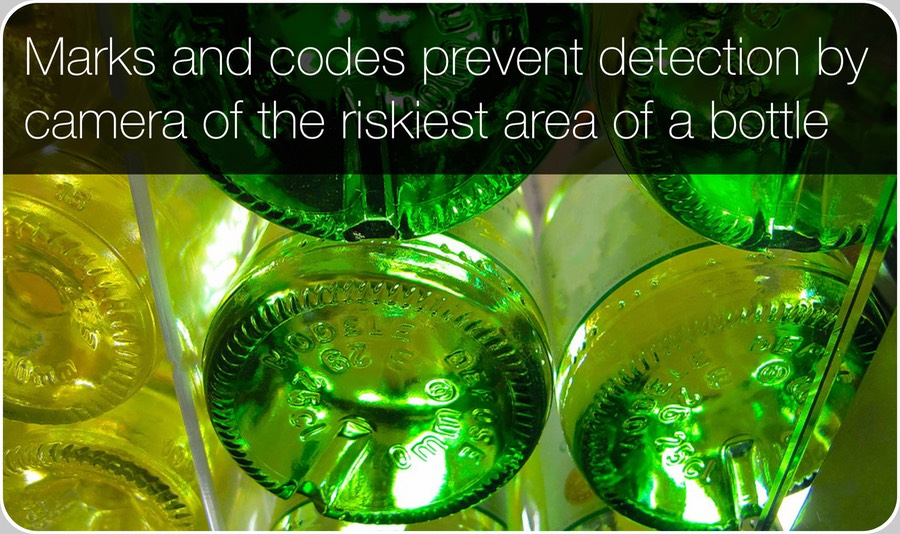 Marks and codes in the bottle base prevent detection by camera of its riskiest area: the base