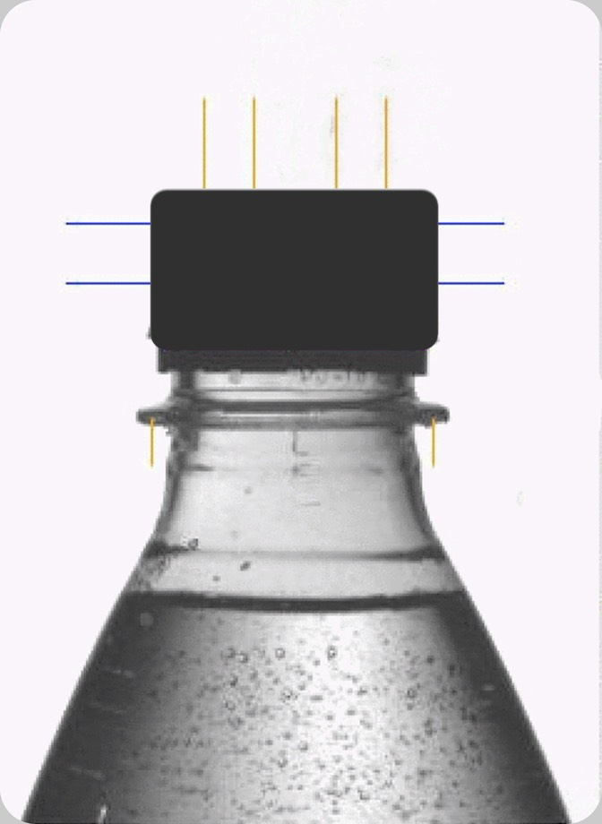 Beverage Meniscus. Camera optic axe correctly oriented to the PET-container Neck Ring.  Parallax error when measuring the filling level is minimised to <4�.  Meniscus thickness systematic error is with this carbonated water the main cause for measurement uncertainty and deriving false rejects