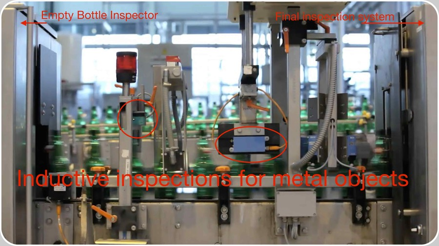 Metal cap Inductive inspection. The Inductive Closure or Lid Presence Inspection may exist associated to all kinds of electronic inspectors: Full Bottle Inspectors, Empty Bottle Inspectors and Case or Crate Inspectors and Checkers.  In the figure, two different kinds of detectors' shapes sensible to metal objects over the bottles' finish and laterally, installed by our staff as part of the InLine™ Empty Bottle Inspector of the GROLSCH� Brewery at Hengelo, The Netherlands