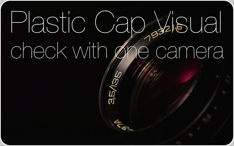 Plastic Cap Visual Check with 1 Camera. The optic closure inspection is the most modern, comprehensive and satisfactory way to control closures' status, its only disadvantages being cost and complexity, as seen by the user side. It is devoted to detection of cocked (inclined) closures, broken TE (tamper evident) bands, closures applied too high or absent at all.   All these factors implying contamination of the product and extremal risks for Consumers.  The basic operation principle implies a single CCD or CMOS-camera, allowing a partial coverage, < 180º, of the closure external lateral surface.  The optic system includes 3 mirrors to increase the focal length, minimising optic aberrations due to parallax error.