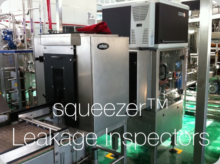 One of the Heuft® squeezer™ QA Leakage Inspectors installed, started and commissioned by our staff. The unit here represented is assuring Food and Beverage Safety to the aseptic beverages of the Chinese gigantic Company Hui Yuan®, Yan Bian Corporation of China Huiyuan Juice Group Limited 中国汇源果汁集团有限公司, at Yanbian, No. 285, Changbai Road, Yanji City, Jilin Province, China.  The Electronic Inspector here visible is a model with sensors in-the-Filler and Closer Machines, precisely tracking one-by-one all bottles out feeding the precedent Bloc. It checks the possibility of leakage squeezing the PET bottles and measuring the fill level with X-ray bridges before and during the squeezing action. Also, a pressure sensor cooperates with the difference of filling height measurementss, to provide an additional independent index of Contamination associated to the bottle.  Visible in the centre of the image an additional FinalView™ Heuft® final inspection units, equipped with 2 cameras and mirroring optoelectronic system, to control all 360º of the Caps' tamper evident ring, height and inclination