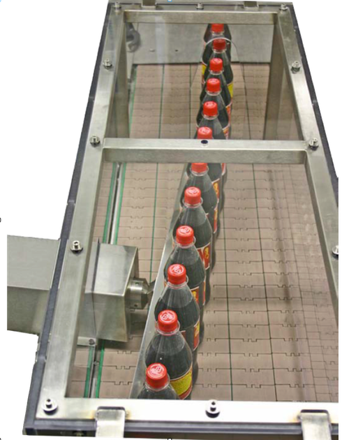 ultrasonic fobbing was born for multi lane conveyors like the one in this image. It can also be applied to common single-lanes in the filler outfeed, if the conveyor is tilted around 10�, to guarantee the same full contact with the left side guide and ultrasound transducer